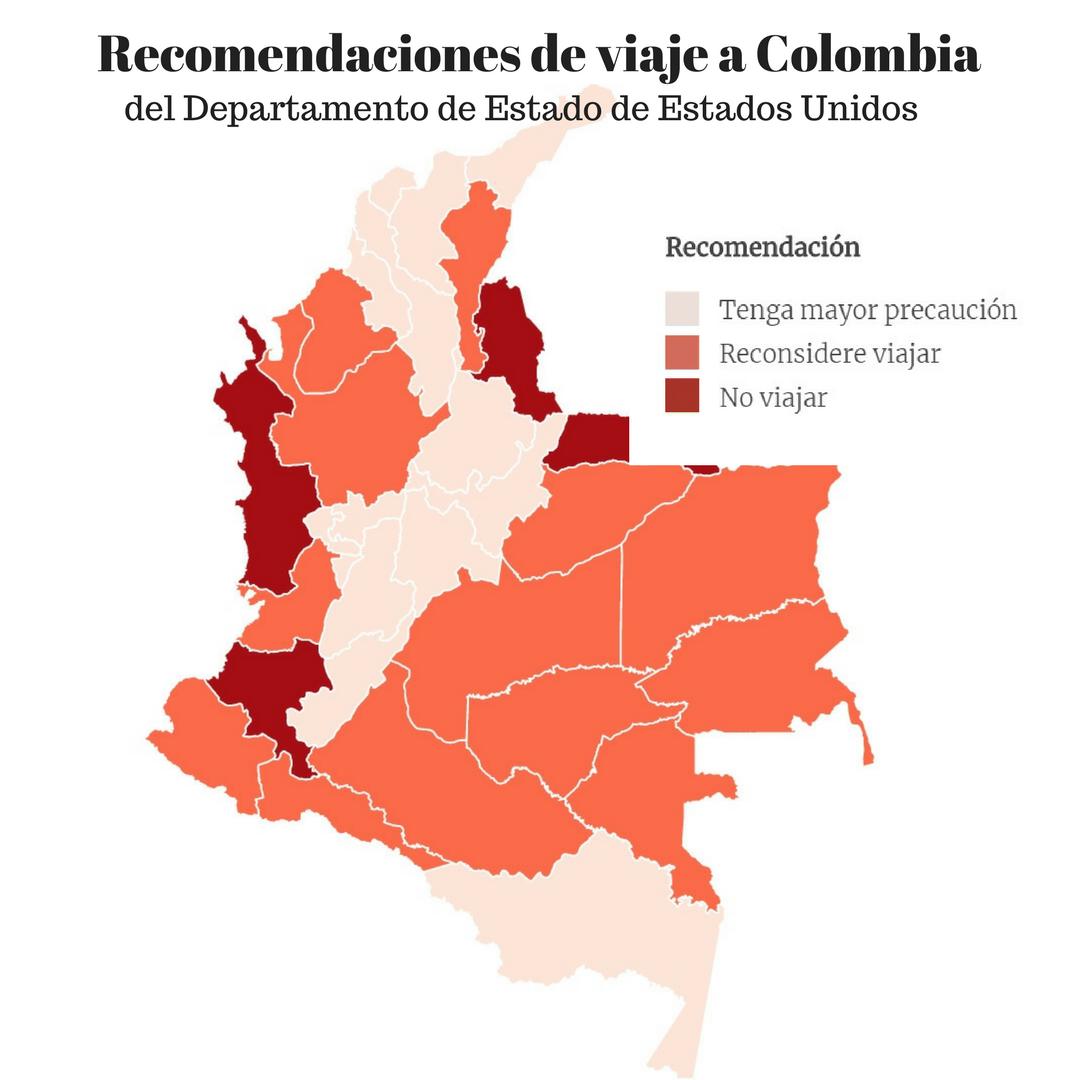 Los departamentos de Colombia que el Departamento de Estado de Estados Unidos recomienda no visitar